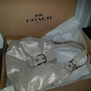 Large Coach Shoulder Bag, Handbag -Metallic Blush